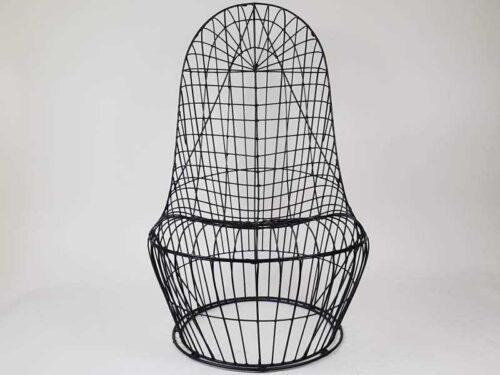 Striking black metal 1960s Chair