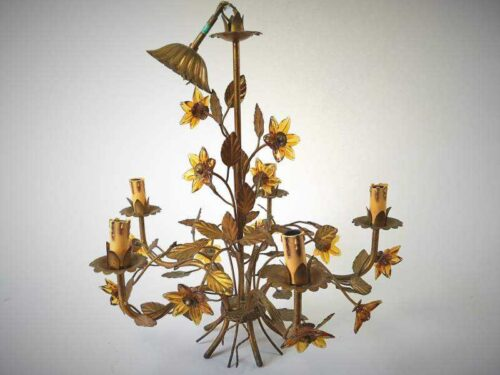 Toleware and Glass Chandelier