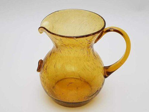 Crackle-glaze Victorian Amber Pitcher