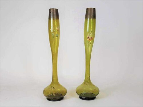 Pair of Green Victorian Vases with remnants of Gilt