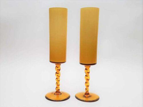 Pair of Mid Century Amber Vases
