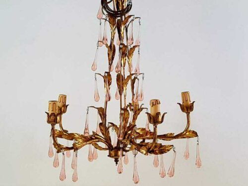 Chandelier with Pink Droplets