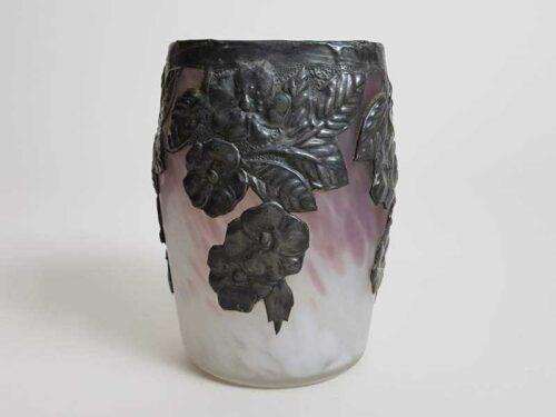 Art Nouveau Mauve Vase with Decorative Zinc Overlay