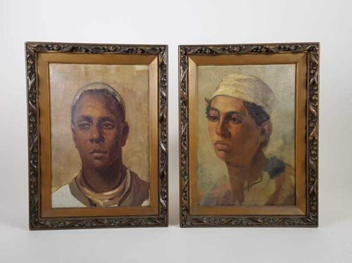 Pair of Portraits, Oil on Canvas of African Boys