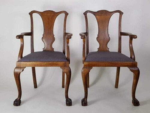 Pair of Victorian oak Elbow Chairs with upholstered seats