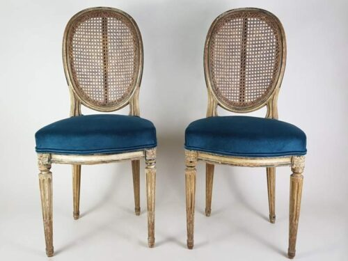 Pair of Napoleon III Caned Chairs with teal velvet seats
