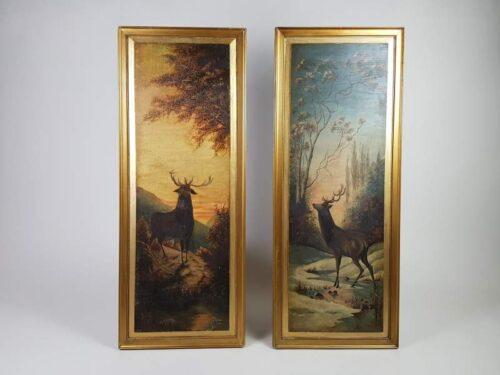 Pair of Deer Paintings