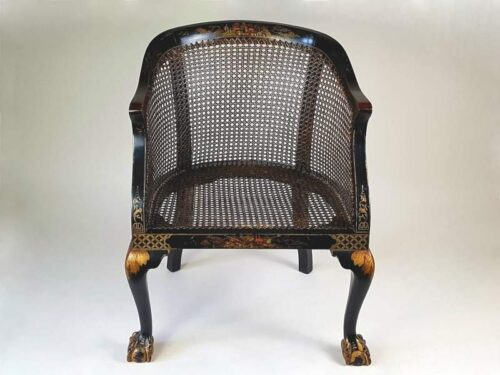 Regency chinoiserie caned arm chair with ball feet