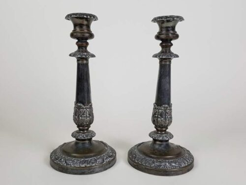 Pair of Timeworn Silver Plated Candlesticks