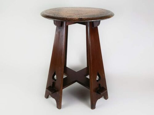 Circular Arts and Crafts Table with copper top