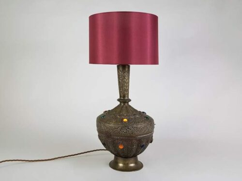 Decorative embossed North African Lamp with stained glass detailing