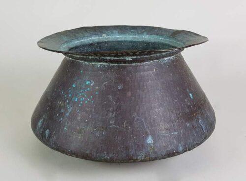 Hand beaten Copper Display Bowl with good verdigris