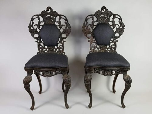 Decorative cast iron Victorian chairs with upholstered seats