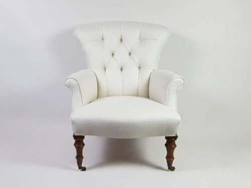 Victorian button backed Arm Chair covered in linen