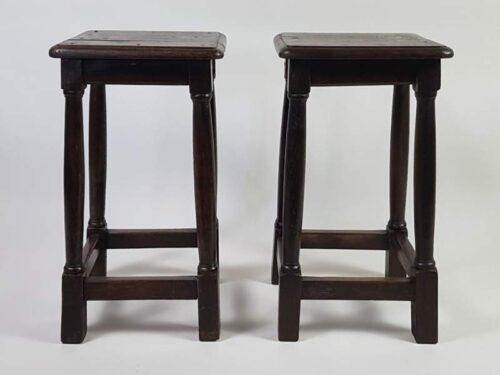 Pair of French dark oak rustic Stools