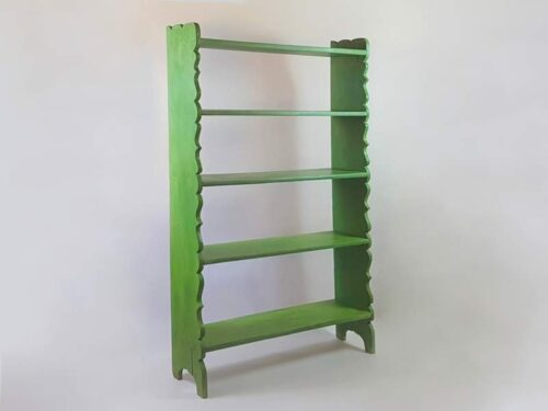 Tall rustic Eastern European shelf unit, original green timeworn paint