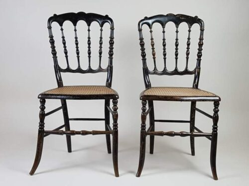 Pair of ebonised cane French salon chairs