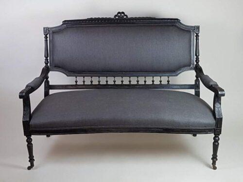 French ebonised Salon Sofa with original castors
