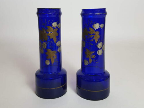 Pair of Cobalt Blue Victorian Vases with remnants of Gilt