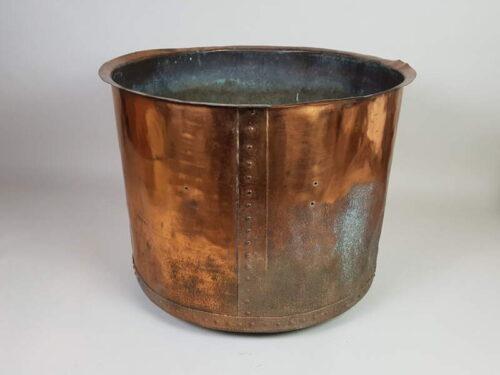 Large English riveted copper Log Basket