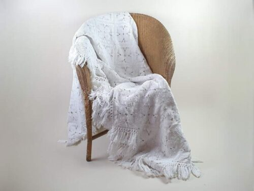 French crocheted intricately designed  white cotton Bedcover