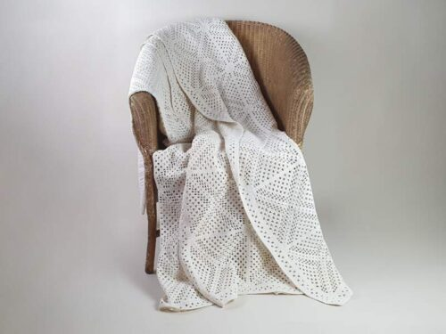 French cream cotton hand crocheted Bedspread with geometrical design
