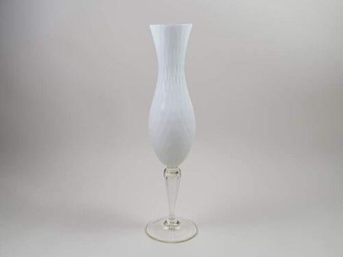 Tall white mid century modern Italian Murano glass Vase