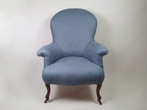 Napoleon III armchair recovered in linen