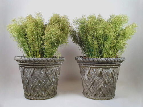 Pair of large lattice design well weathered Composite Planters