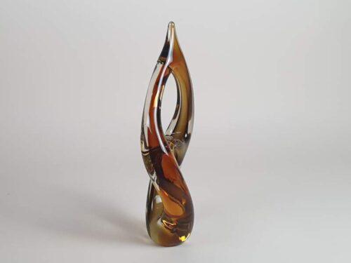 Mid Century Amber Glass Sculpture