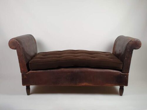 French Art Deco leather reclining Day Bed with original cushions