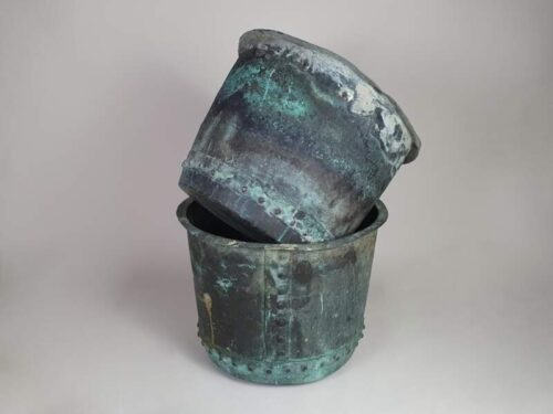 Pair of English rivetted Copper Planters with good verdigris