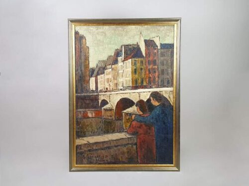 Mid Century French Oil on Canvas, Couple at Bridge
