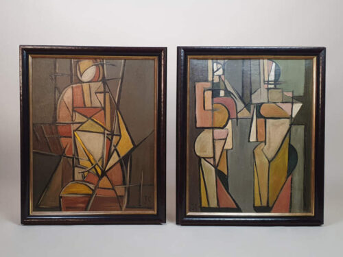 Two Cubist Portraits, oil on canvas