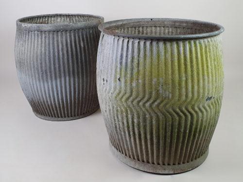 Pair of antique galvanised dolly tub Garden Planters