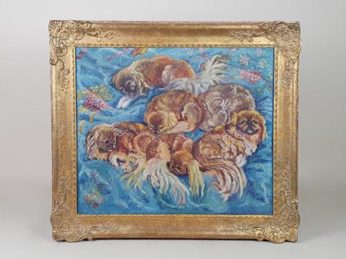 1940s Impressionist Pekingese Dogs, oil on canvas