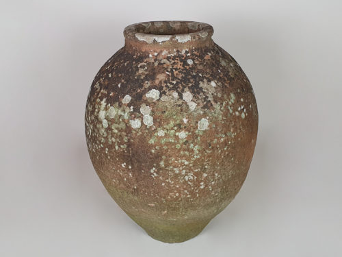 Medium terracotta Urn with good covering of moss and lichen