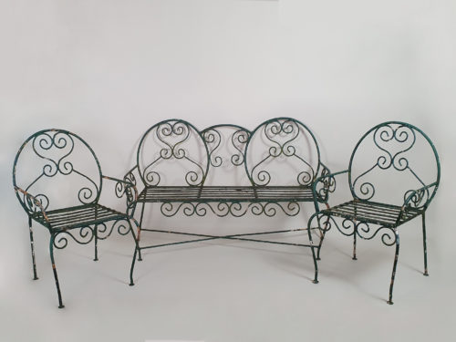 Green wrought iron mid century garden bench and chairs