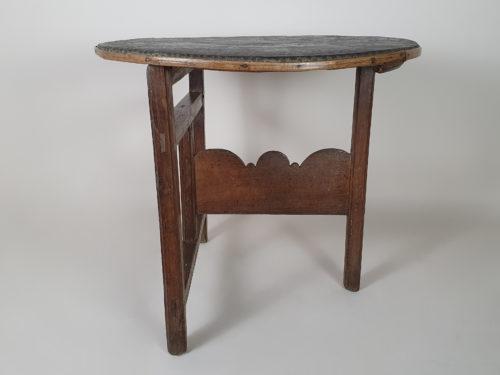 19th century oak tar cloth covered Vendage Table
