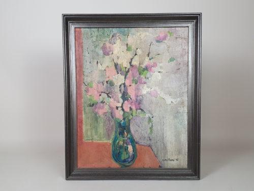 1960s impasto Floral Still Life in pastel colours