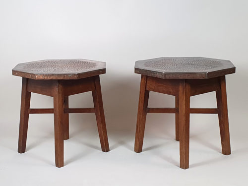 Pair of mid century oak Side Tables with copper surfaces