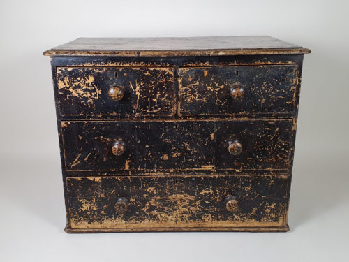 Small Victorian Chest of Drawers with layers of original black paint
