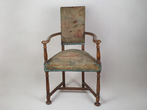 Victorian oak Chair, with earlier tapestry covering