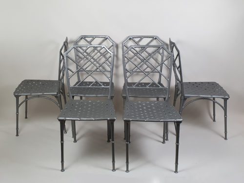 1970s faux bamboo aluminium Table with 6 Chairs, inspired by Brown Jordan in the Chinese Chippendale style