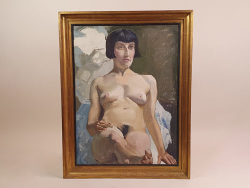 Large French oil on canvas of a striking 1920s Nude