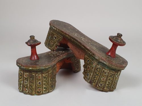 A pair of 19th century IndianPaduka Stilt Shoes