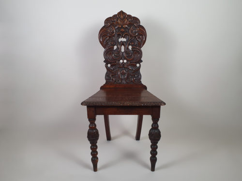 Victorian mahogany carved Green Man Hall Seat
