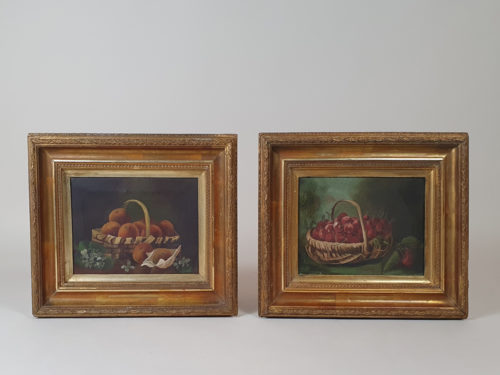 Pair of Victorian Still Life paintings of baskets of Peaches and Strawberries