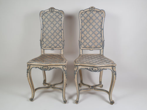 Pair of French caned bergere Chair  with original paint