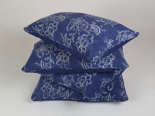 Mid Century Vietnamese indigo resist block printed Cushions